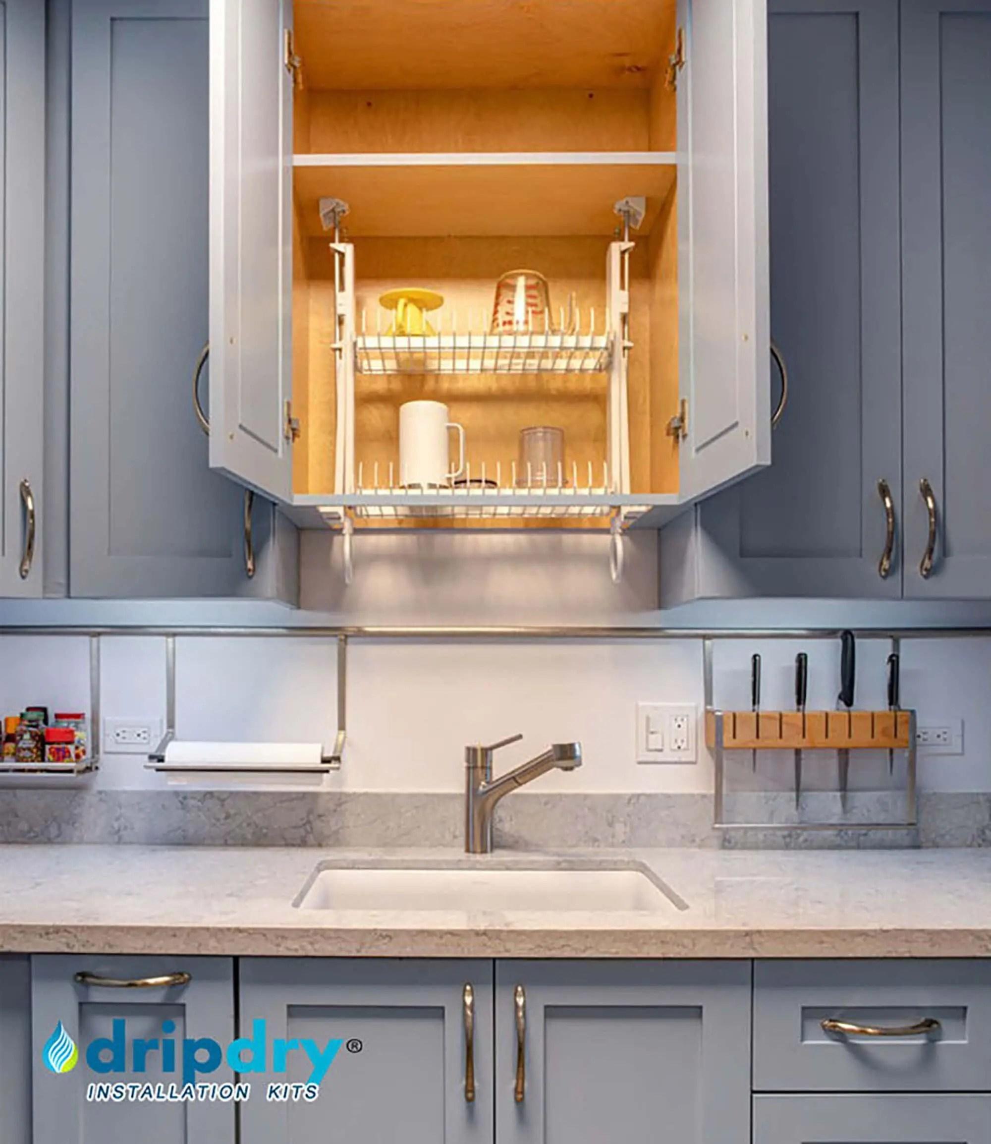 a hidden cabinet dish rack