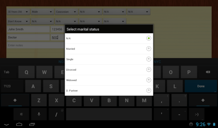iJuror for Android Information Input