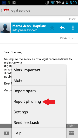Gmail Android Report Phishing
