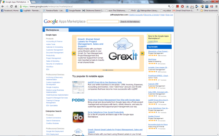Google Apps Marketplace Browser View
