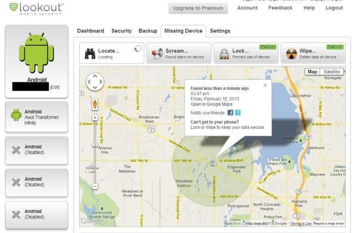 Lookout Mobile Missing Device