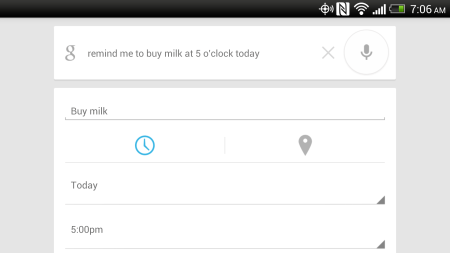Google Now Reminder: Remember to Buy milk