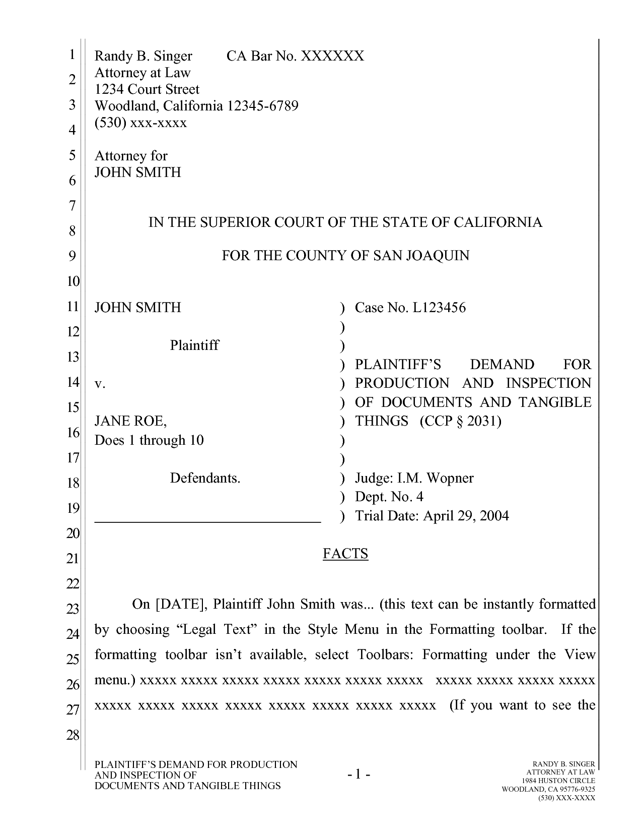 pleading template california