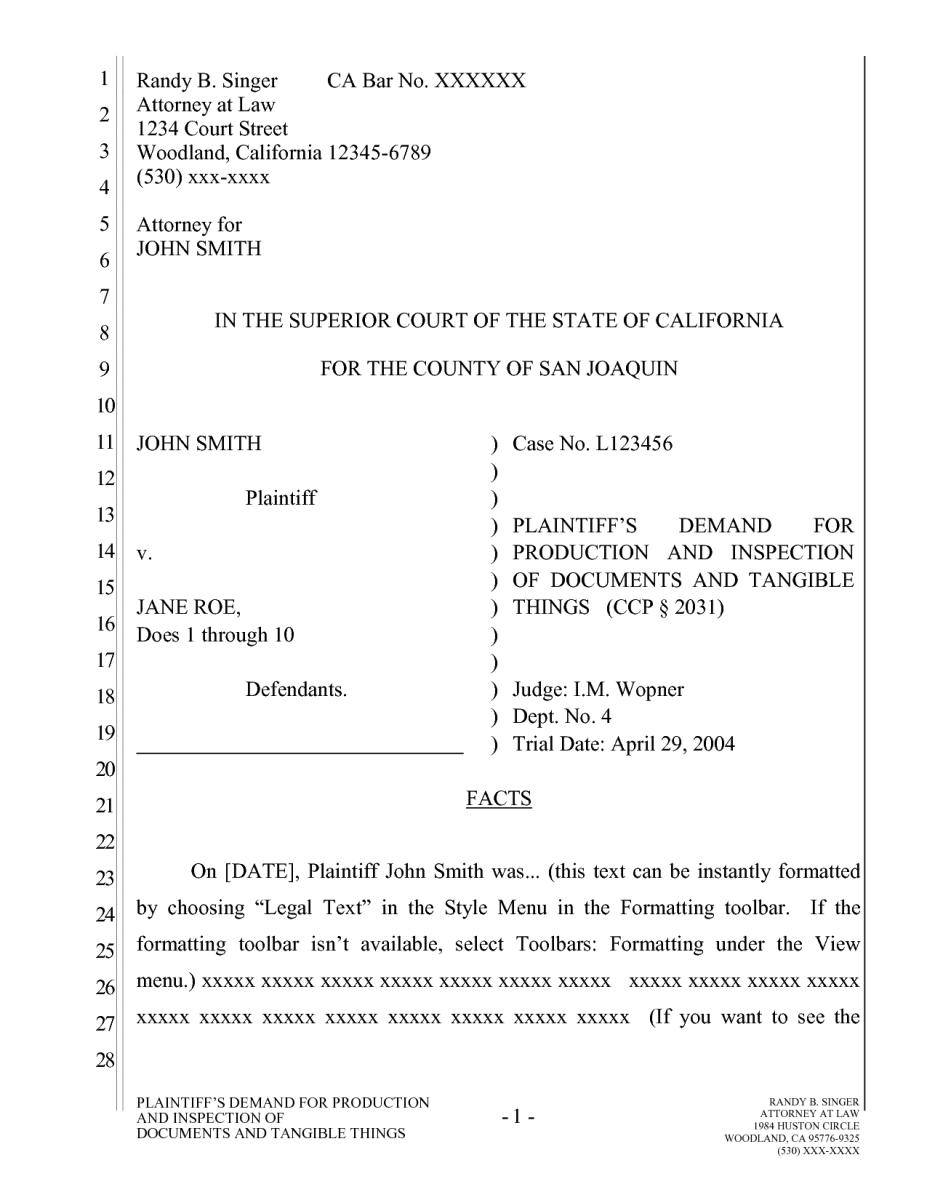 California Pleading Template for Google Docs – The Droid Lawyer