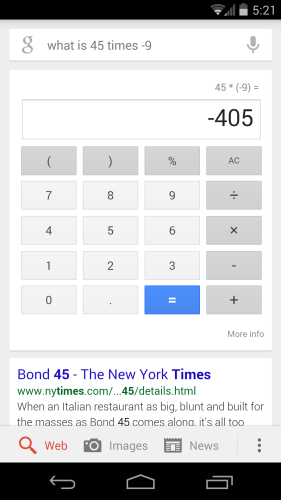 Google Now calculator