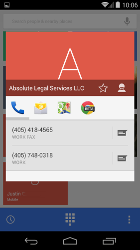 Android 4.4.3 Dialer Card