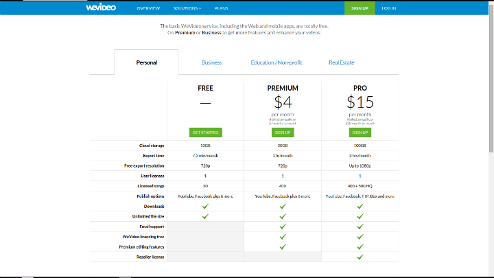 WeVideo Paid Plans