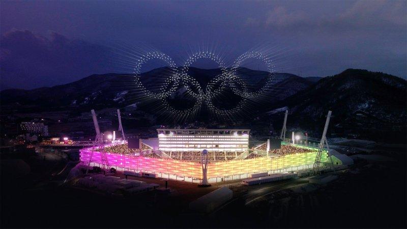 intel olympics drone light show south korea rings