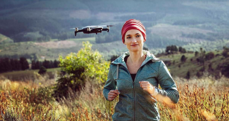 DJI Mavic Air girl woman running jogging nature drone follow-me
