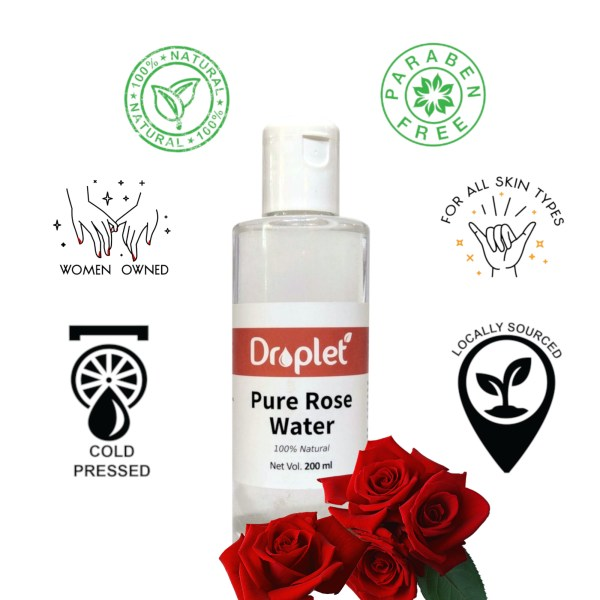 pure natural rose water by droplet care