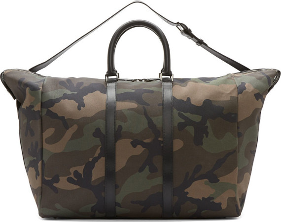 VALENTINO – CAMOUFLAGE TEXTILE & LEATHER WEEKENDER BAG