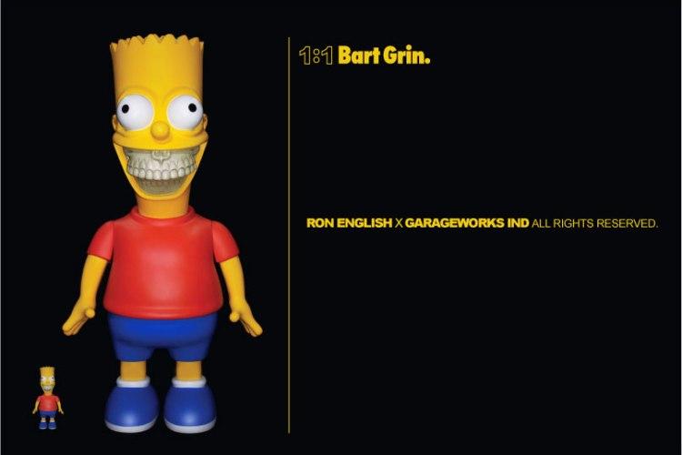 Ron English x Garageworks Industries x The Simpsons 1:1 Bart Grin Sculpture