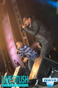 Wayne Marshall and his son performing on stage