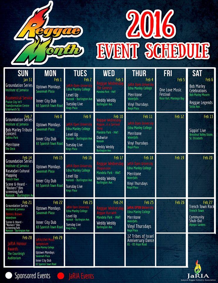 Reggae Month 2016 Calendar