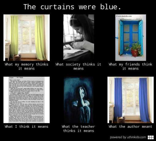 curtains were blue bad meme