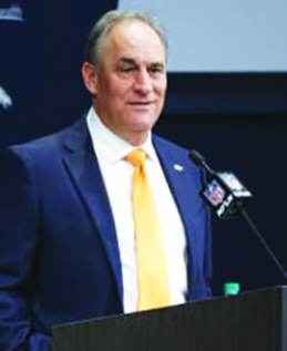 Vic Fangio at mike
