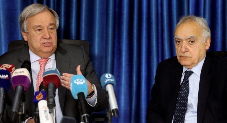 UN Secretary General Antonio Guterres with his U.N. Envoy for Libya, Ghassan Salame