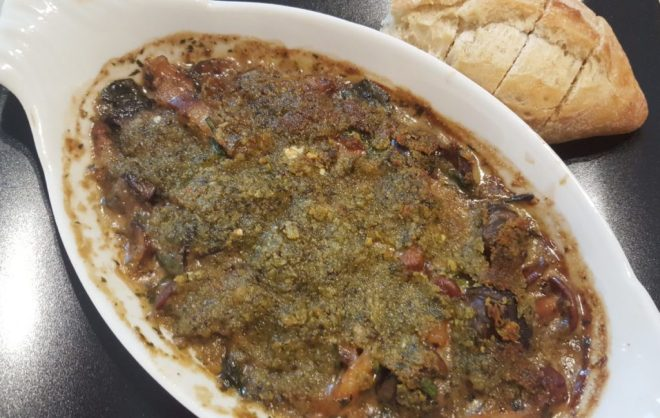 Cocotte of escargots with mustard and caper herb crust
