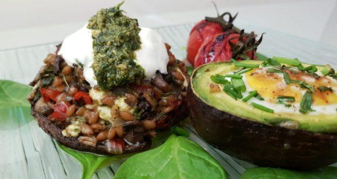 Stuffed mushroom with spelt egg and avocado brunch