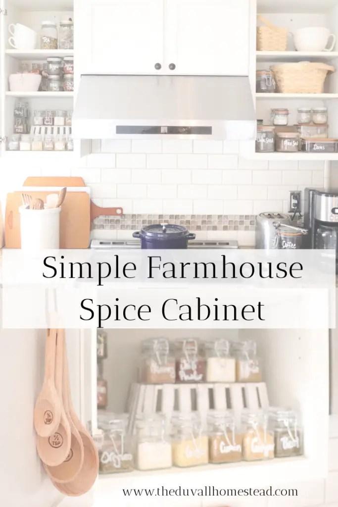 simple farmhouse spice cabinet