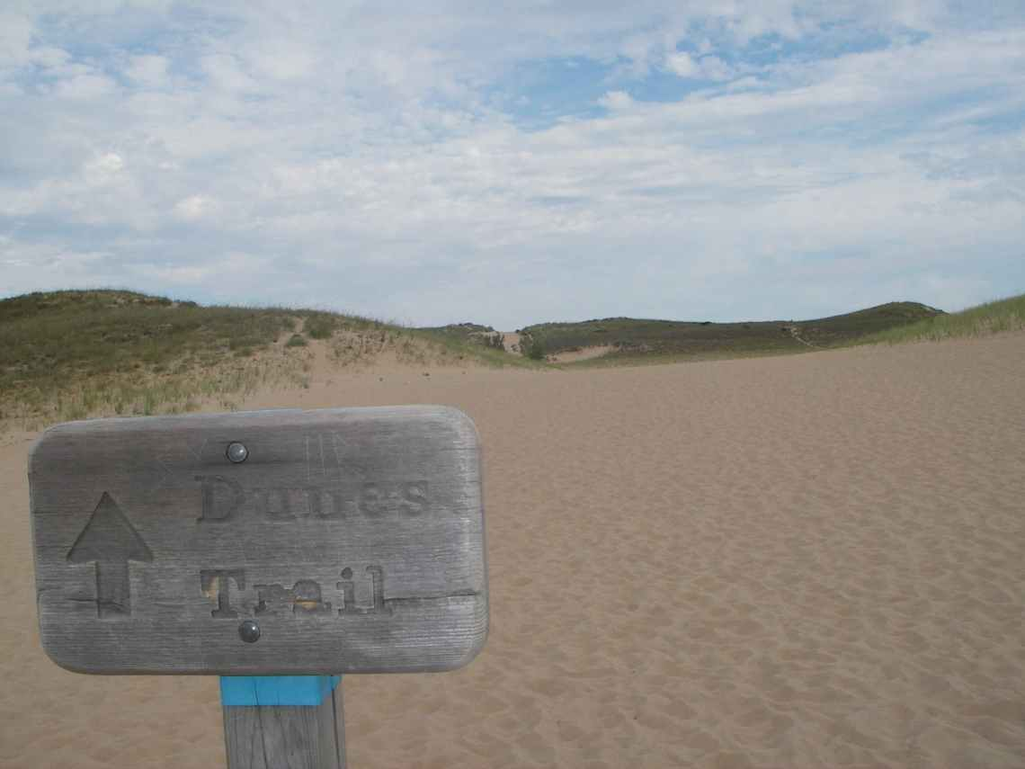 hiking on a sleeping bear dunes camping trip