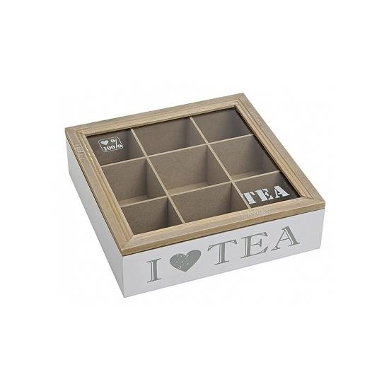 Witte houten theedoos met 9 vakken I love tea