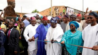 Image result for Ambode inaugurates Aboru-Abesan link bridge