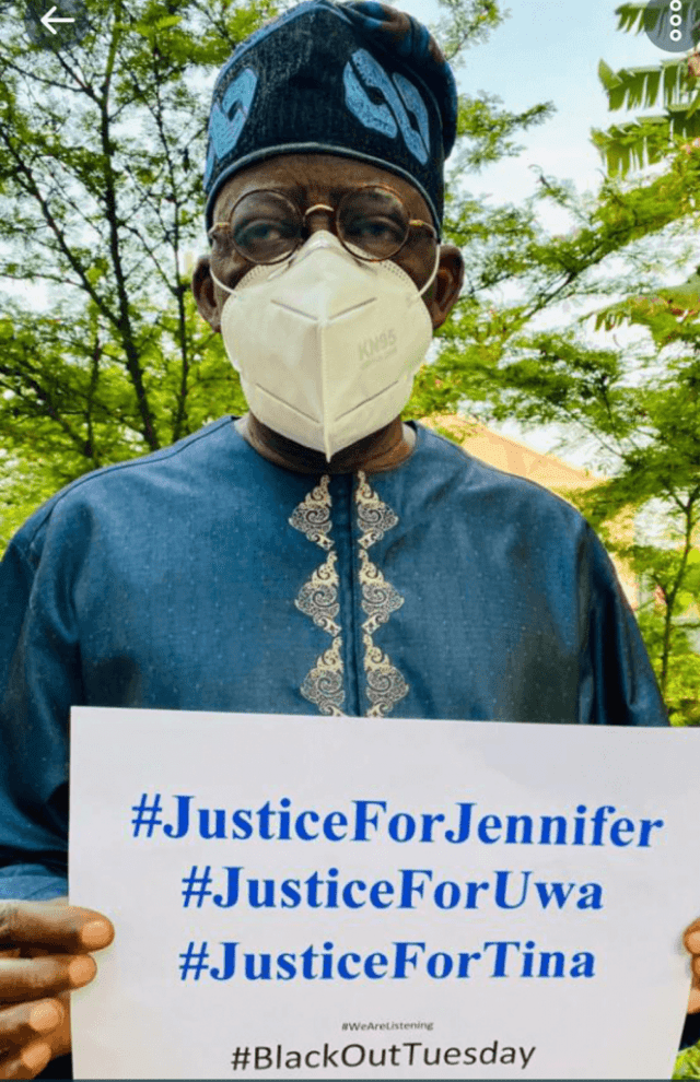 Screenshot 20200603 1110572 662x1024 2 Placard-bearing Asiwaju Tinubu seeks justice for Uwa, Jennifer, Tina + photo