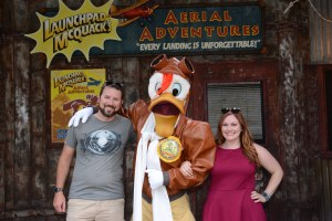 Meeting Launchpad McQuack at Donald's Dino-Bash