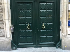 Painted green to match the door.