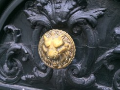 Not a knocker, but another knob. A very angry lion