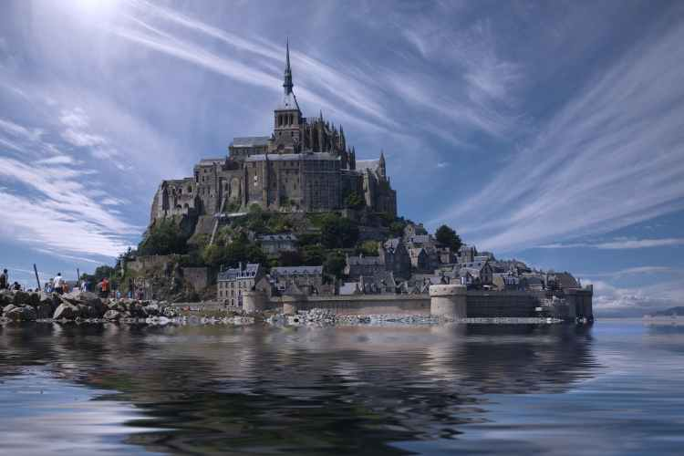 france landmark water clouds