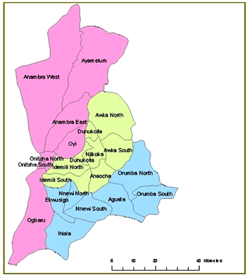 Map of  LGAs in  Anambra  State