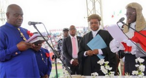Governor Wike taking the oath of office on May 29, 2015