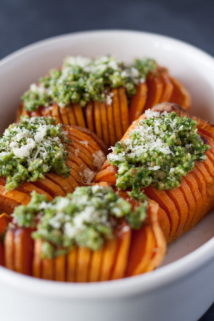 Perfect match of sweetness with the tang of pesto an easy side or eat them on their own.