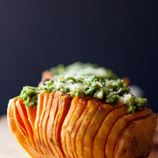 Pumpkin Seed Parsley Lemon Pesto Hasselback Sweet Potatoes