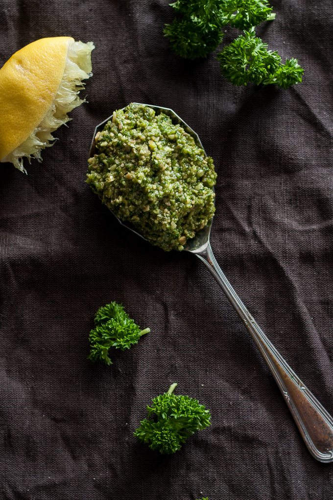 Quick and easy Pumpkin Seed Parsley Lemon Pesto you can make in 5 minutes a great nutrtional boost on its own or added to your favourite dishes!