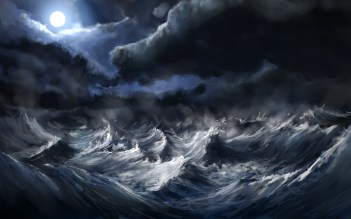 Waves Storm Wallpaper 2560x1600 Waves, Storm, Moon, Artwork, Alexlinde