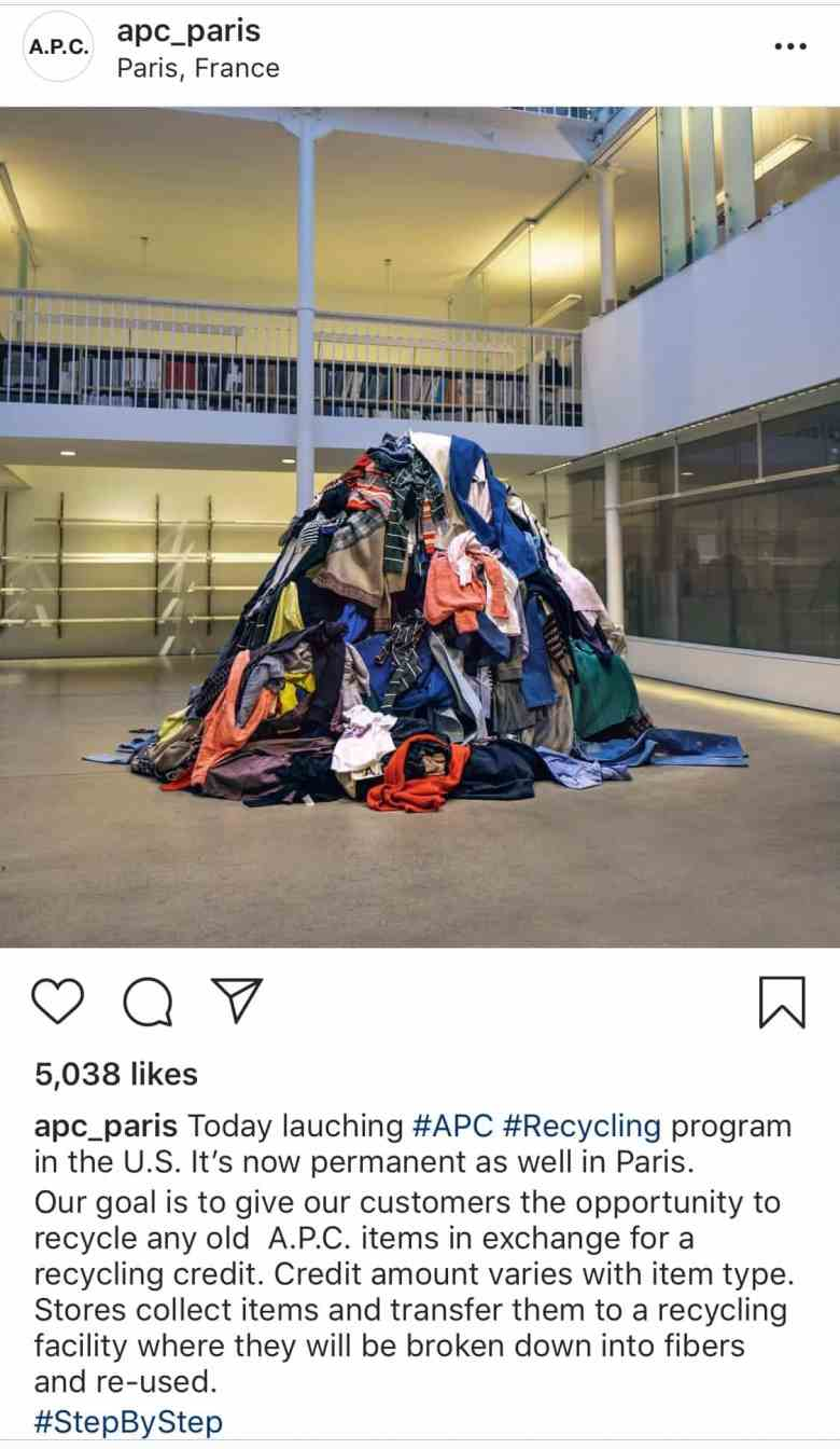Pile of clothes being recycled for APC Recycling Programme
