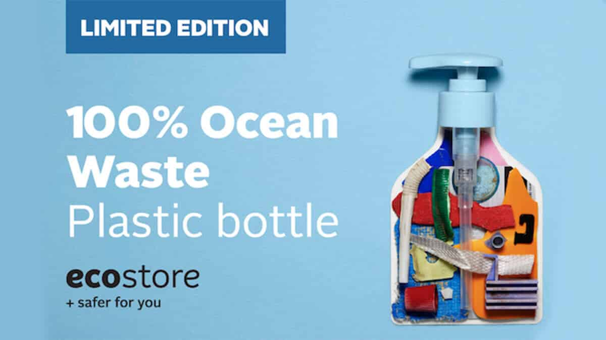 Plastic Circularity Ecobahn Ecostore bottle made from 100% recycled ocean plastic