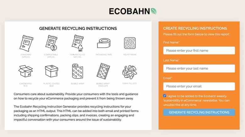Ecobahn Packaging Recycling Instructions Generator