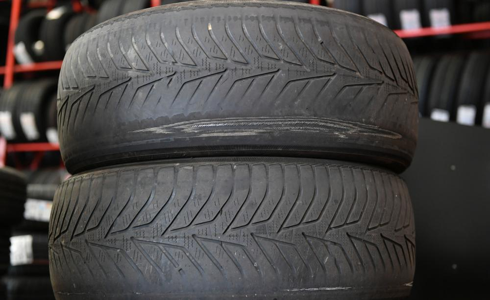 car tyres stacked up