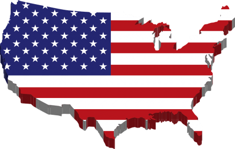 United States Flag Map - Public Domain