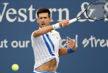 Djokovic in action on day one at US Open bubble