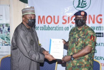 Signing of a Memorandum of Understanding between the NYSC Scheme and Leventis Foundation of Nigeria for collaboration on youth empowerment