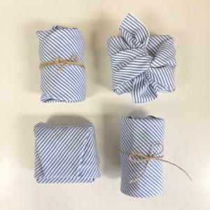 Reusable Stripy Blue Gift Wrap (Medium)