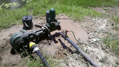 Fresh mud all over the pump