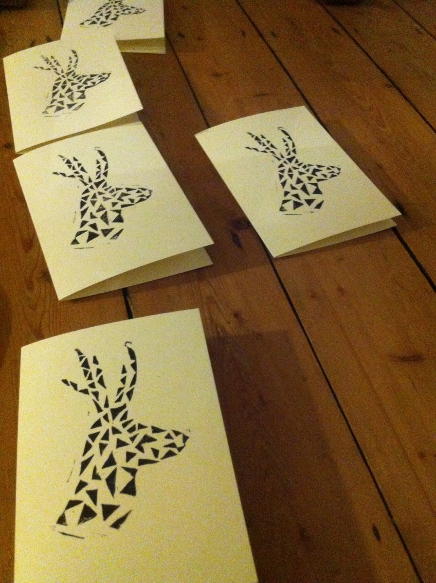 print projects handprinted christmas cards geometric reindeer