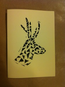 handmade christmas cards geometric reindeer design