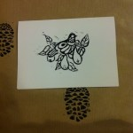 handmade christmas cards with black partridge in a pear tree design